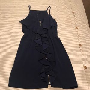 Navy blue front zipper dress S